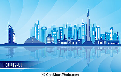 Dubai city skyline detailed silhouette Vector illustration
