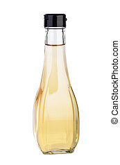 Decanter with white balsamic (or apple) vinegar isolated on...