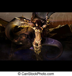 Dragon with Woman - Dragon and woman are friends in a...