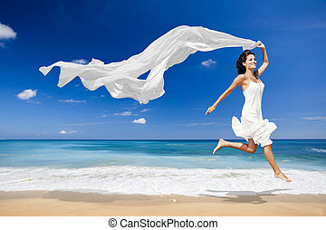 Jumping with a white tissue - Beautiful woman running and...
