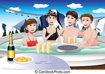 Young people enjoying jacuzzi - A vector illustration of...