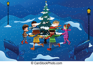 Children skating around a Christmas tree