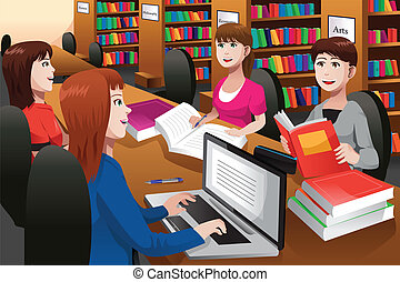 College students studying in a library - A vector...