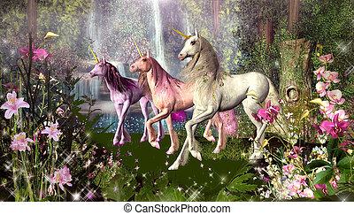 Three Unicorns - Beautiful fantasy image of three unicorns...