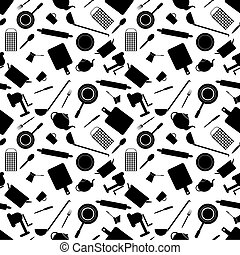 Seamless pattern of kitchen tools on a white background