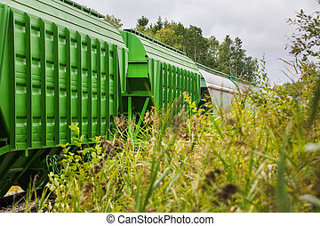 Train of freight wagons and tanks