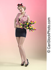 full-length portrait of sexy pin-up with flowers