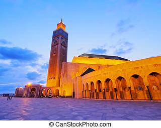 Hassan II Mosque in Casablanca - Night view of Hassan II...