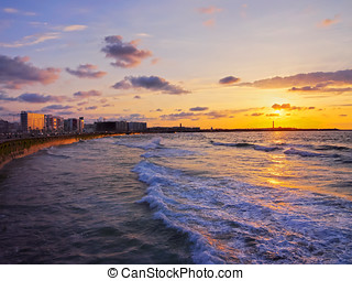 Sunset in Casablanca, Morocco - Sunset on the shore of...