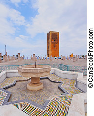 Hassan Tower in Rabat, Morocco - Hassan Tower - minaret of...