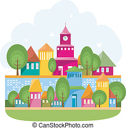 Small Town On The River - Cartoon illustration of small cosy...