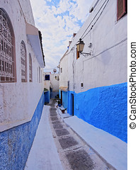 Kasbah of the Udayas in Rabat - Colorful street of the...