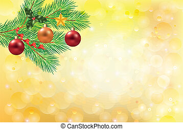 golden christmas background with fir-tree branch
