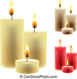 colorful christmas candles vector set