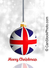 Merry Christmas from United Kingdom Christmas ball with flag...