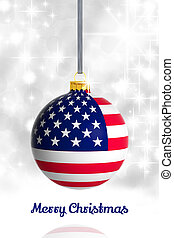 Merry Christmas from USA Christmas ball with flag