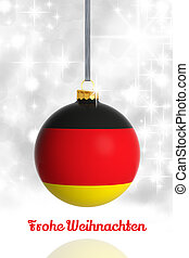 Merry Christmas from Germany Christmas ball with flag