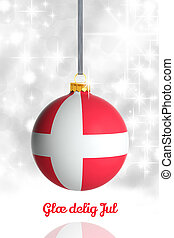 Merry Christmas from Denmark. Christmas ball with flag