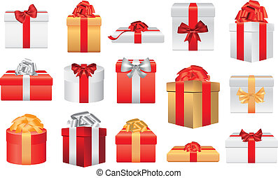 christmas gifts and presents photo realistic illustration