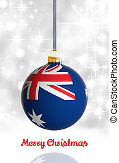 Merry Christmas from Australia. Christmas ball with flag