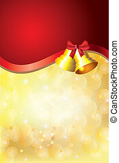 golden christmas background, jingle bells - shiny snowflakes...