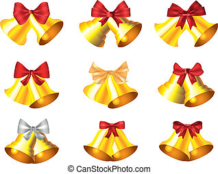 jingle bells collection vector - golden jingle bells...