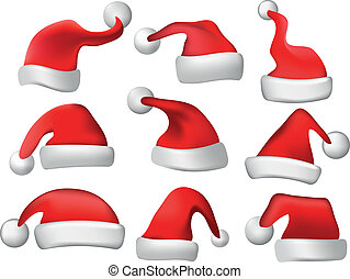 christmas santa hats vector set - christmas santa hats set...