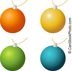 Christmas ornaments - Isolated set of christmas ornaments in...
