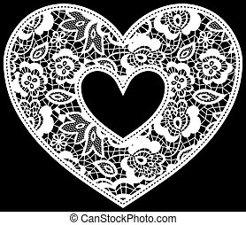 lace wedding heart applique - illustration of embroidery...