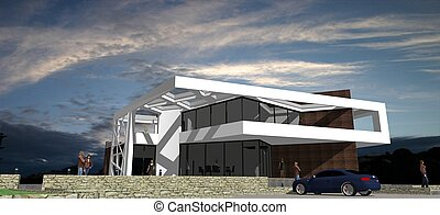 Stock Photo - Modern house front