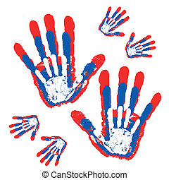 Abstract hand prints background