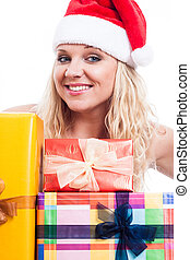 Happy Christmas woman with presents