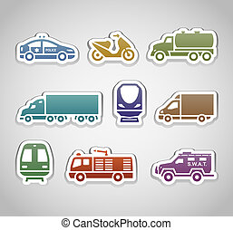 flat retro color stickers - set two
