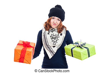 Disappointed woman with gifts