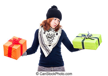 Indecisive woman holding gifts
