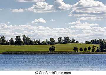 Opposite shore of Mazurian lake - Summer view of the...