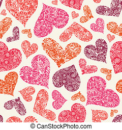 Textured Red Hearts Seamless Pattern Background