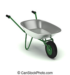 Green garden wheelbarrow isolated on white