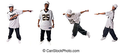 Cool hip-hop dancers - Cool young hip-hop dancers on white...