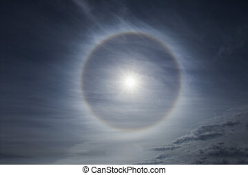 Halo effect on the sky - atmospheric phenomenon, halo effect