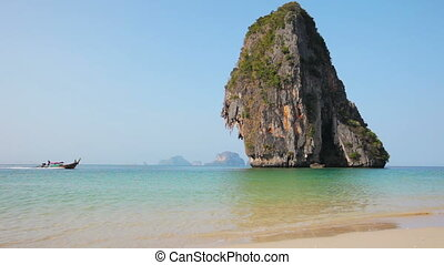 Railayl beach with limestone rock - Video 1920x1080 -...