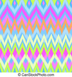 neon zigzag ikat - seamless vector background
