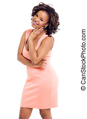young black woman standing on white background - attractive...