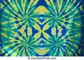 Tie Dye Pattern - Green, Yellow and Blue tie dye pattern on...