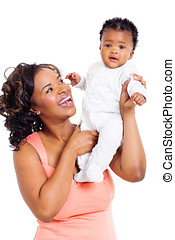 african mother and little baby girl - happy african mother...