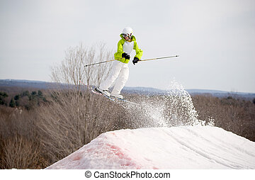 Ski Jumper - A skier catching some major air after launching...