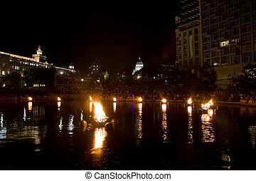 Providence Water Fire - The burning bowls of fire set on the...