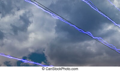 Electricity pylon on blue sky background. (Panning time...