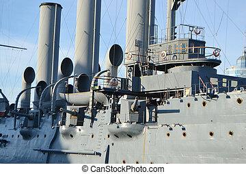 Aurora cruiser museum in StPetersburg - View of Aurora...