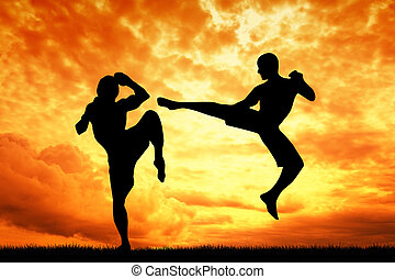 muay thai at sunset